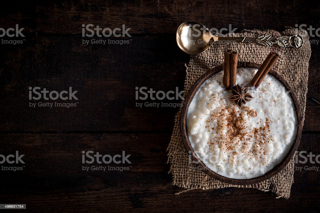 Creamy rice pudding stock photo