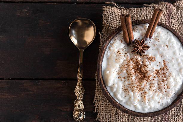 Creamy rice pudding stock photo