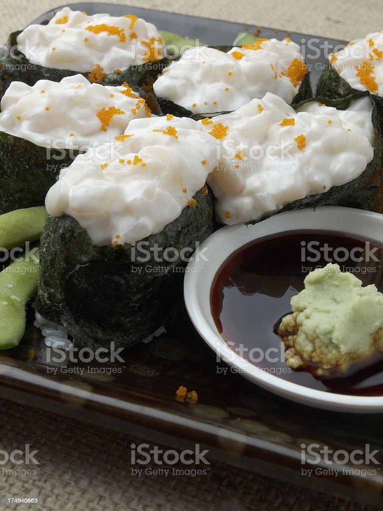 Creamy Scallop Sushi Rolls royalty-free stock photo