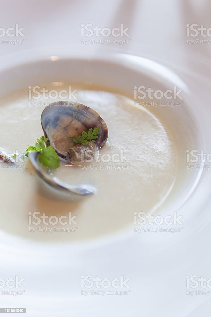 Creamy seafood chowder soup with clams royalty-free stock photo