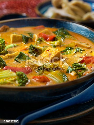 Creamy Tofu Curry Soup with Vegetables