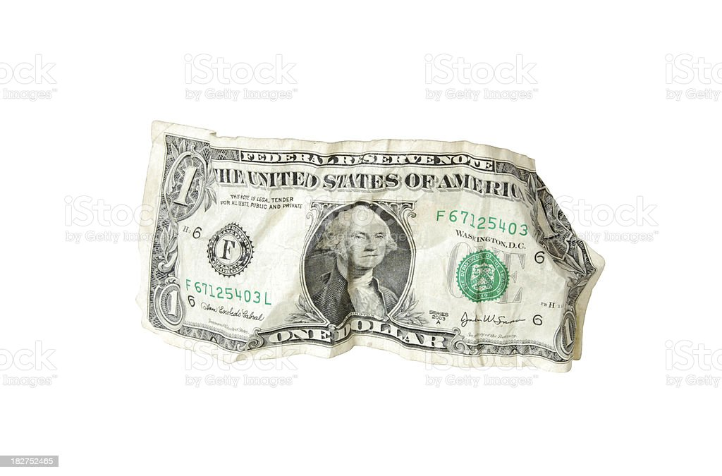 Creased Dollar Bill royalty-free stock photo