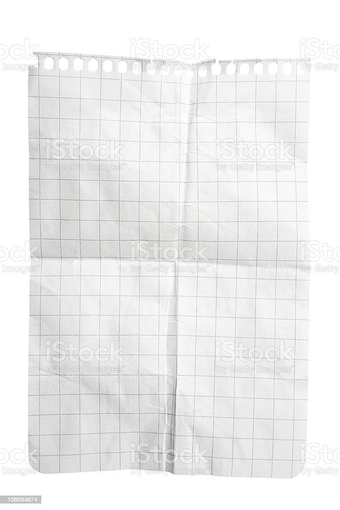 Creased Squared Notepad Sheet stock photo