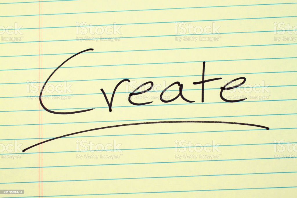 Create On A Yellow Legal Pad stock photo