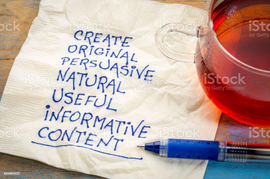 create original, useful, informative content stock photo