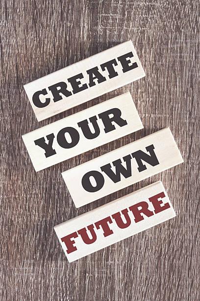 create your own future motivational quote - mentor zitate stock-fotos und bilder