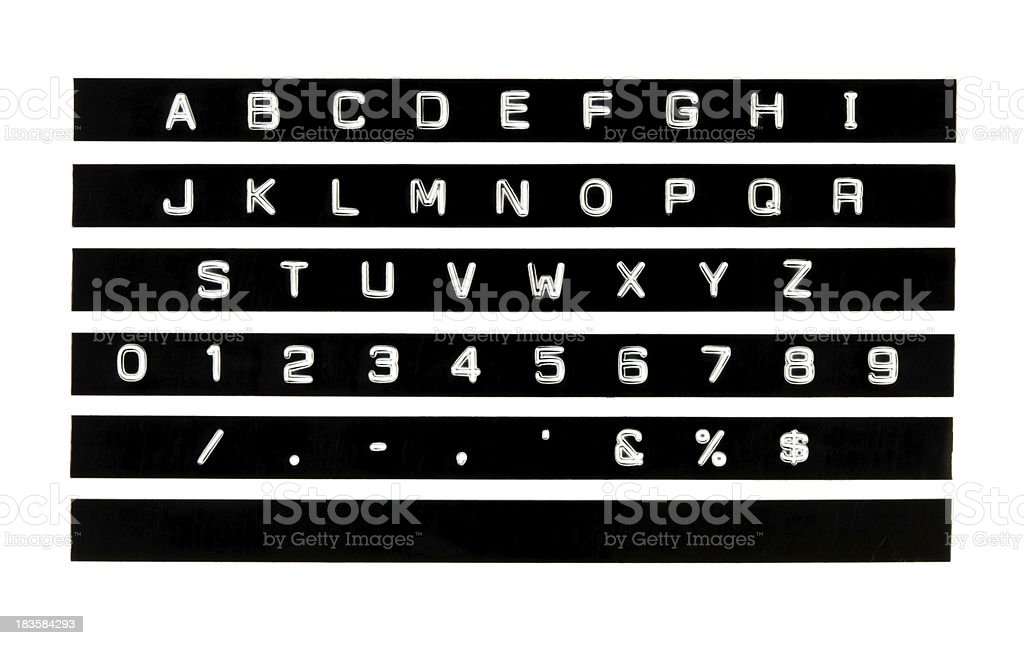 Create Your Own Plastic Strip Embossed Letter and Numeral Label stock photo