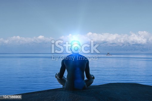 istock created idea with meditating 3D work 1047586900