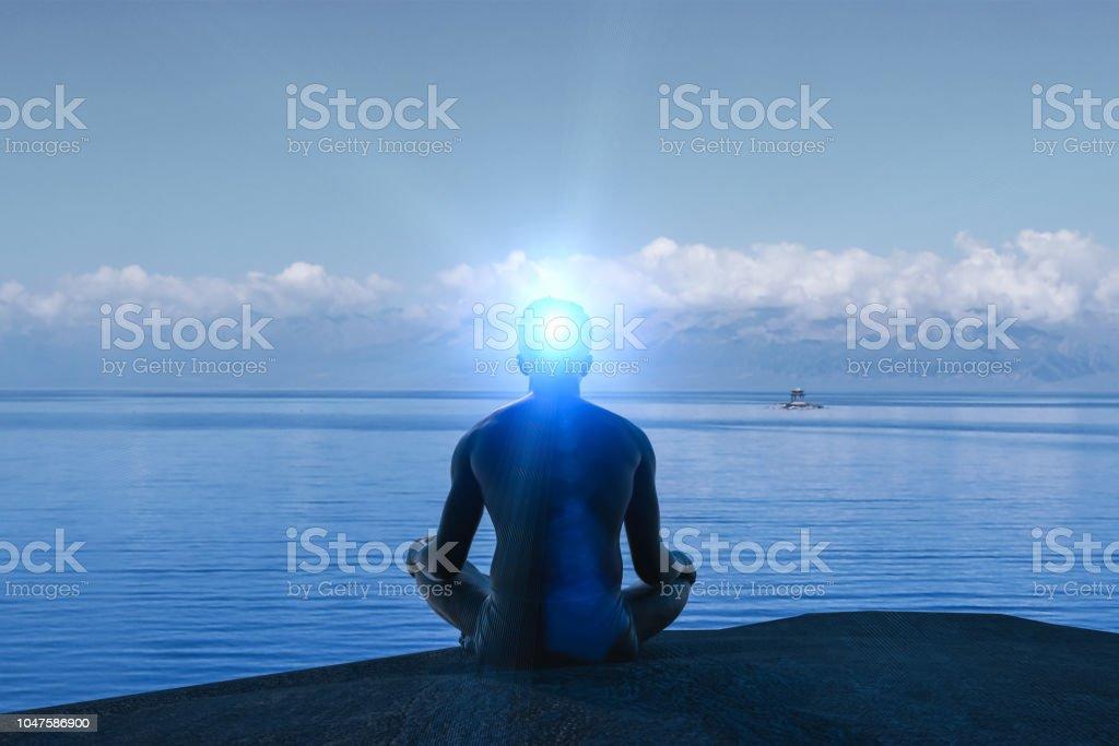 created idea with meditating 3D work stock photo