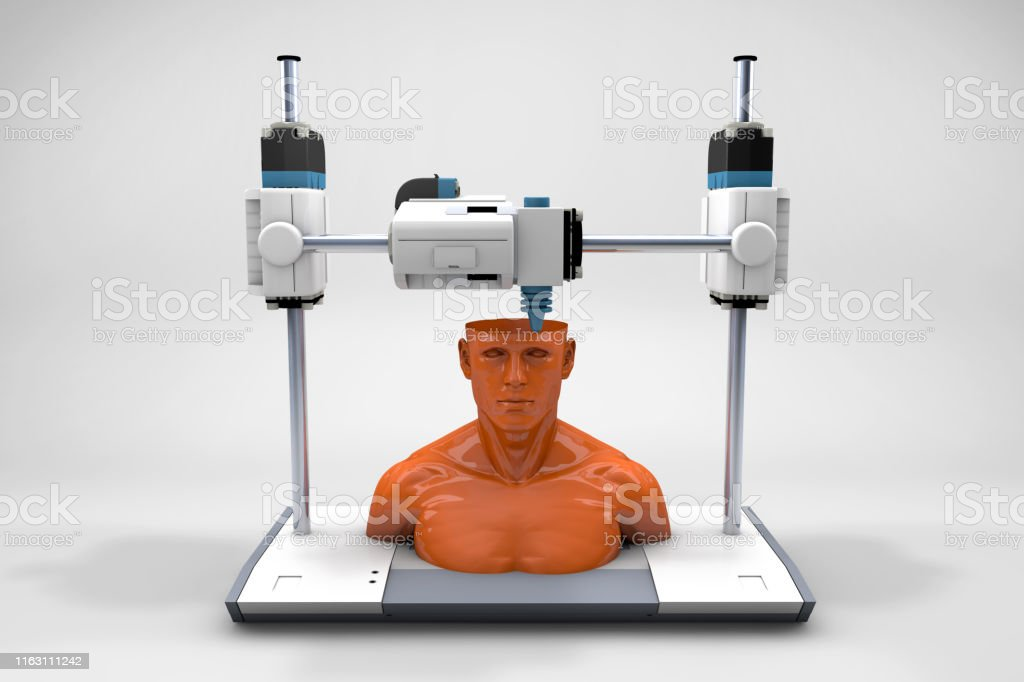 Creating a Human Medical 3D printer machine is printing clone of a human. Future of the art. 3D Printing Stock Photo