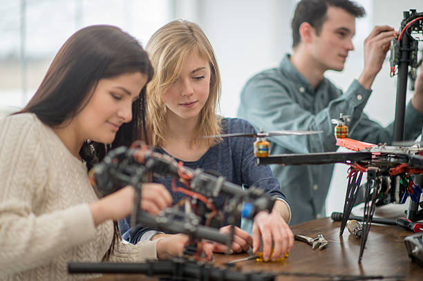 Creating a Mechanical Project in a University Lab stock photo