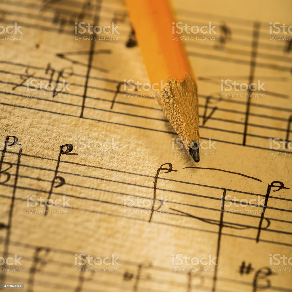 Creating a musical composition royalty-free stock photo