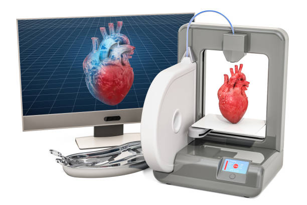 Creating artificial heart on three dimensional printer, 3d printing in medicine concept. 3D rendering isolated on white background stock photo