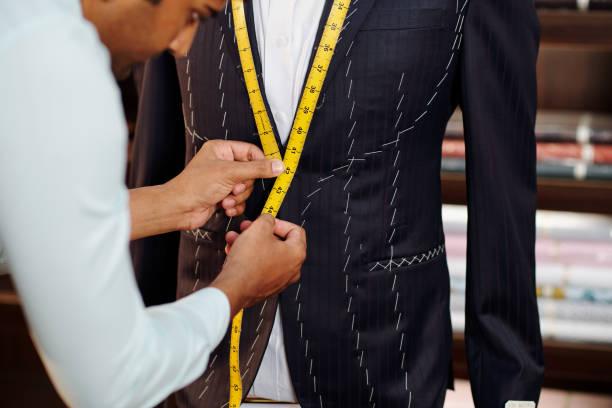 Creating bespoke suit stock photo