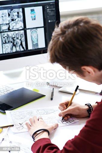 istock Creating comic book 499674185
