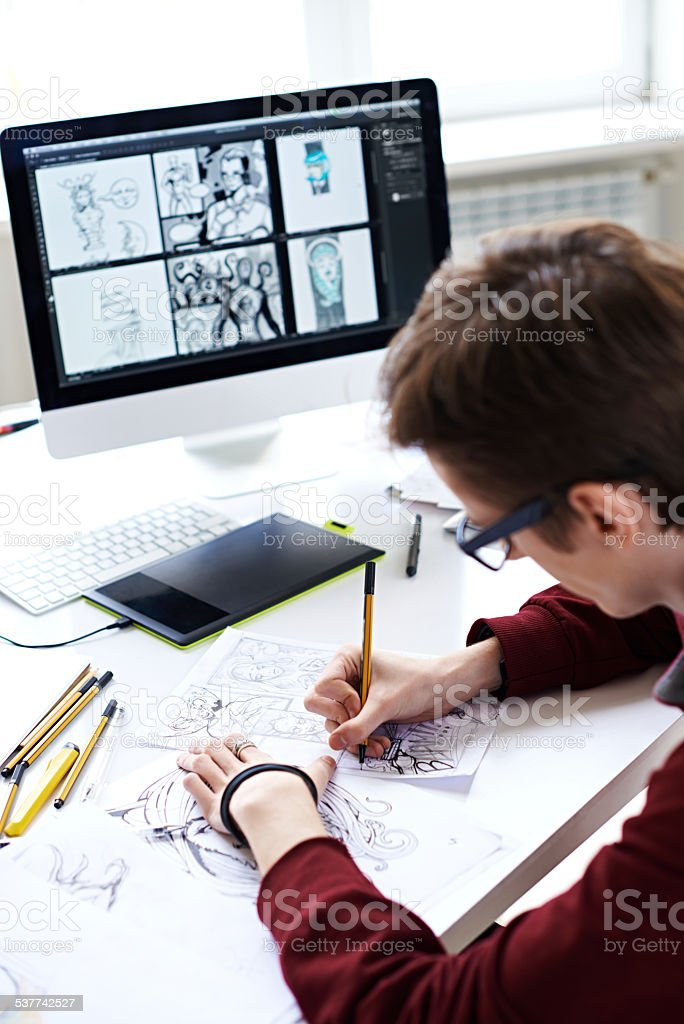 Creating comic book stock photo