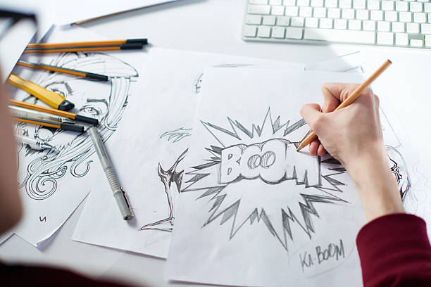 creating comic - manga style stock photos and pictures