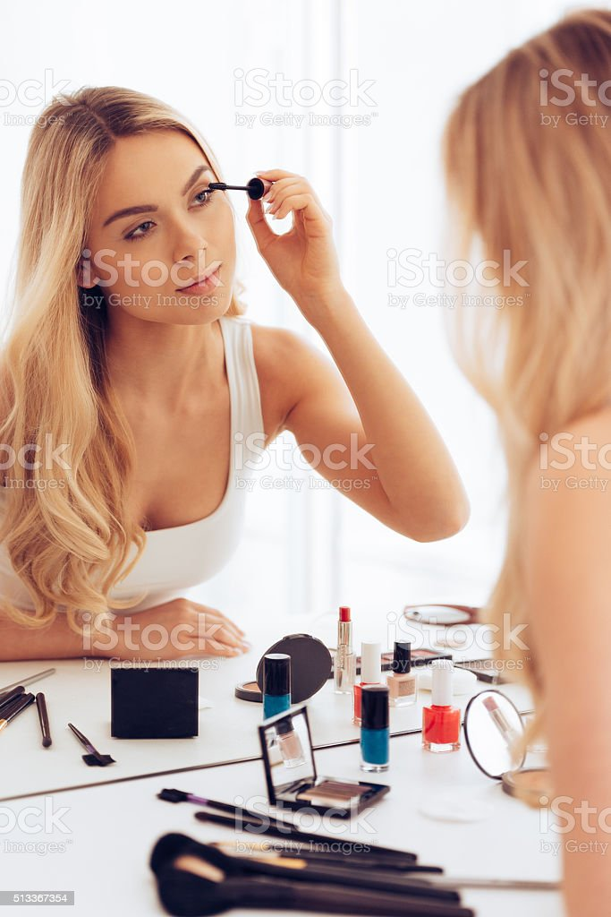 Creating long lashes. stock photo