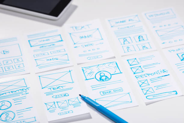 Creating mobile responsive website, wireframe sketches and blue marker pen on designer desk stock photo