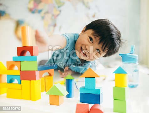 Smiling little constructor