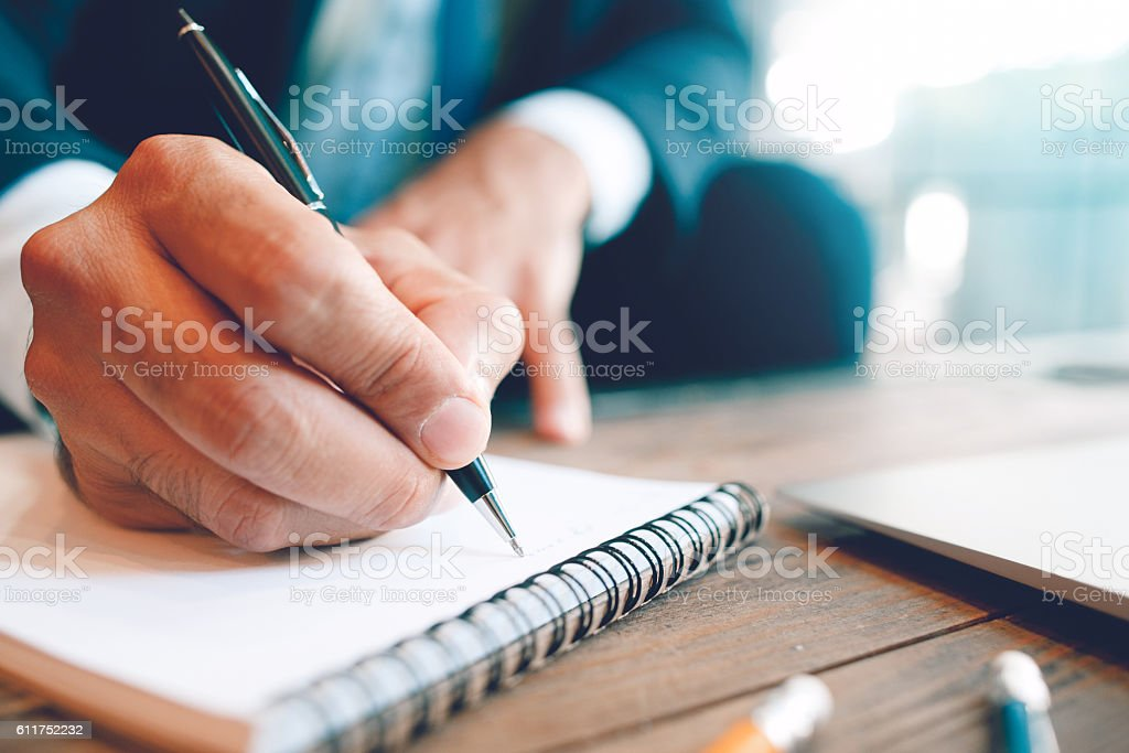 Creating textual or written information stock photo