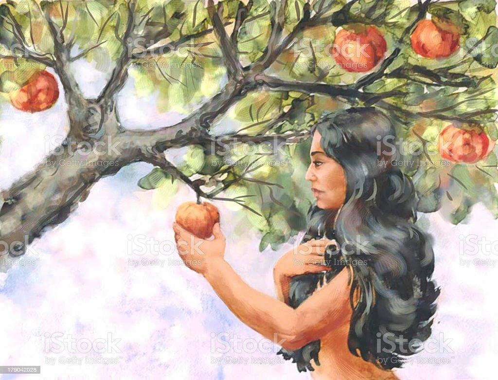 Creation Eve Eats Forbidden Fruit stock photo