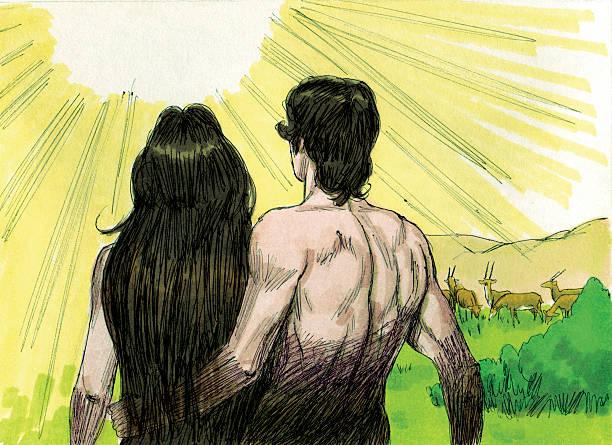 Schöpfung Gottes spricht Adam and Eve – Foto
