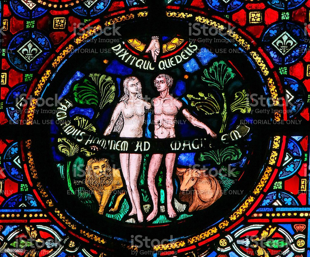 Creation of Adam and Eve stock photo