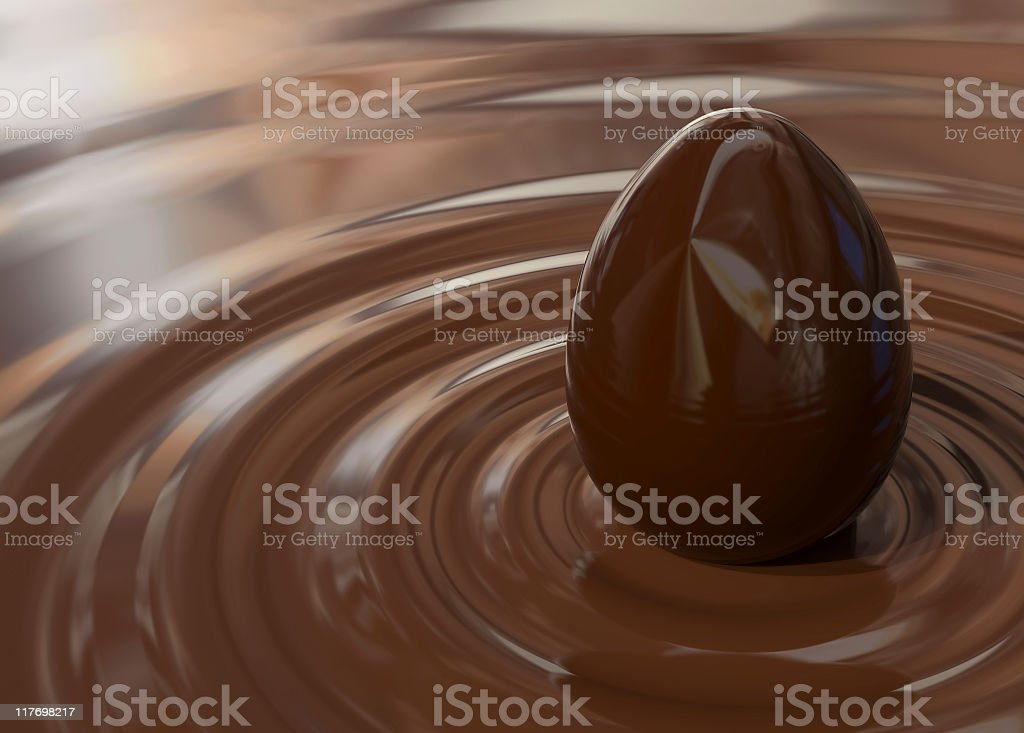 Creation of the chocolate egg stock photo