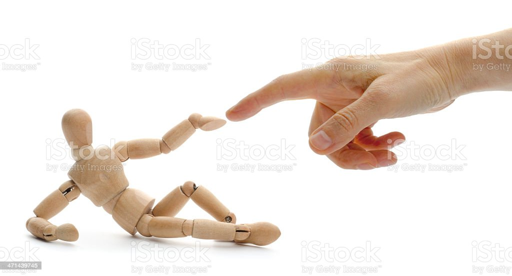 Creation of wooden mannequin stock photo