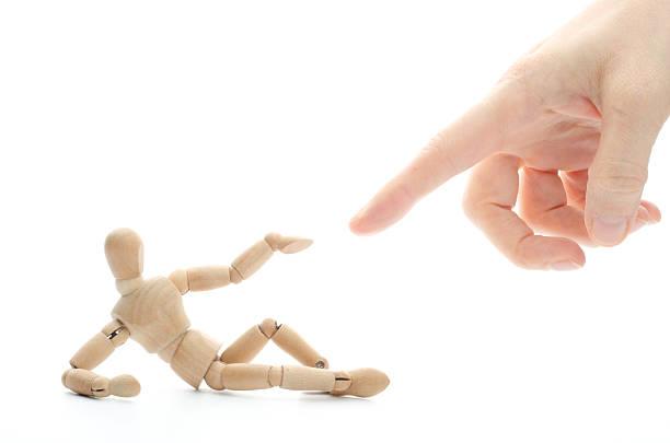 creation of wooden mannequin - touching the finger of god - adam hand god bildbanksfoton och bilder