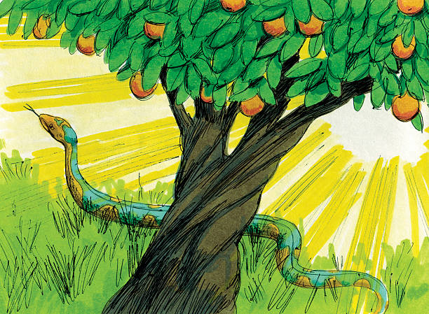 criação de serpente para entrar na barriga - jardim do eden - fotografias e filmes do acervo