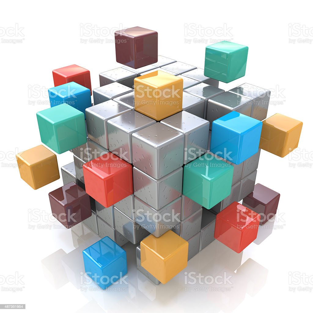 Creative abstract business teamwork, internet and communication stock photo