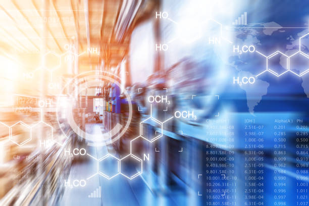 creatieve abstracte chemische wetenschappelijke achtergrond - buis laboratoriumapparatuur stockfoto's en -beelden