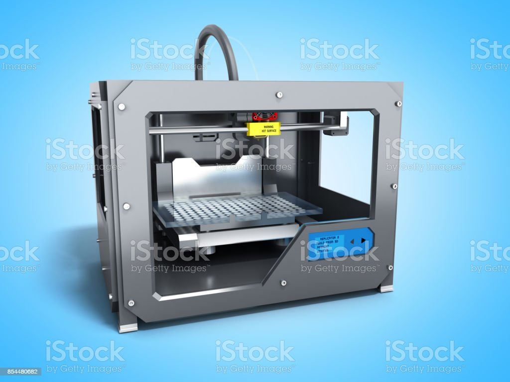 Creative abstract new technologies concept modern professional plastic 3D printer 3d render on white background stock photo