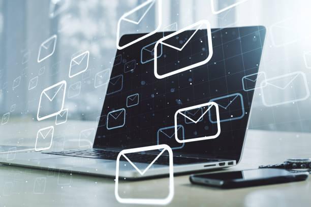 creative abstract postal envelopes sketch on modern laptop background, e-mail and marketing concept. double exposure - feedback comunicação imagens e fotografias de stock
