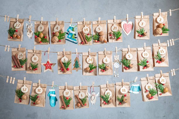 Creative Advent Calendar for Christmas as countdown to Christmas Eve stock photo