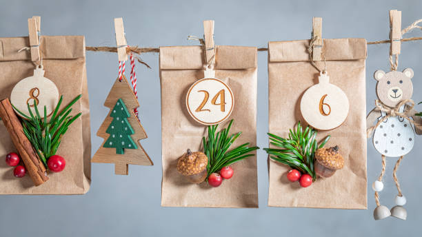 Creative Advent Calendar for Christmas hanging on a string stock photo