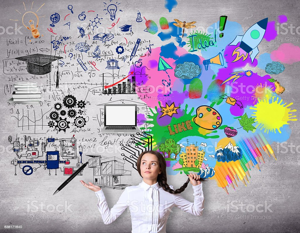 Creative and analytical thinking concept stock photo