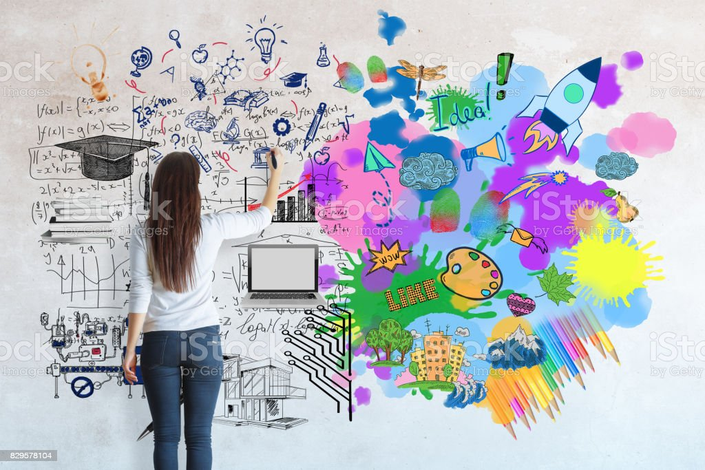 Creative and analytical thinking concept Creative and analytical thinking concept. Back view of young casual girl drawing abstract sketch Adult Stock Photo