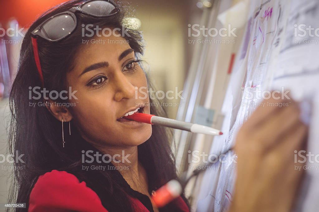 Creative architect women at work stock photo