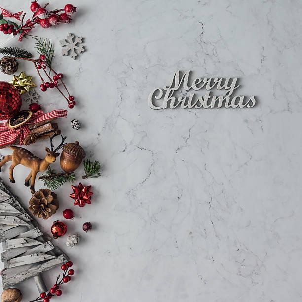 Creative arrangement of Christmas decoration on marble table. Ho - foto de stock