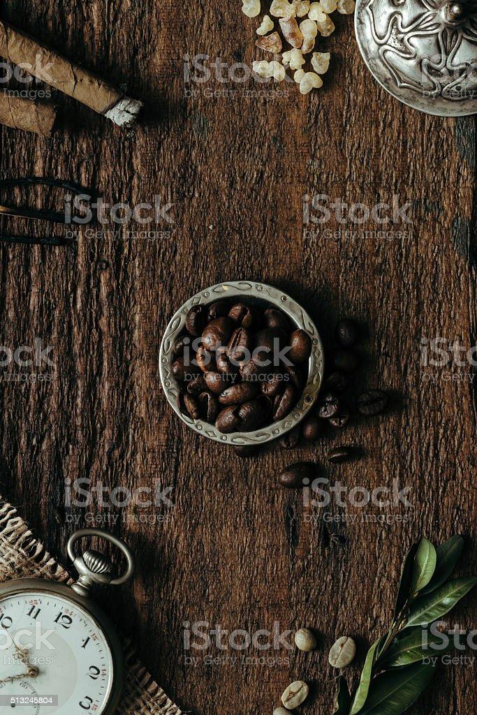 Creative arrangement of things. Flat lay stock photo