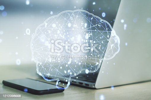istock Creative artificial Intelligence concept with human brain sketch on modern computer background. Double exposure 1212098668