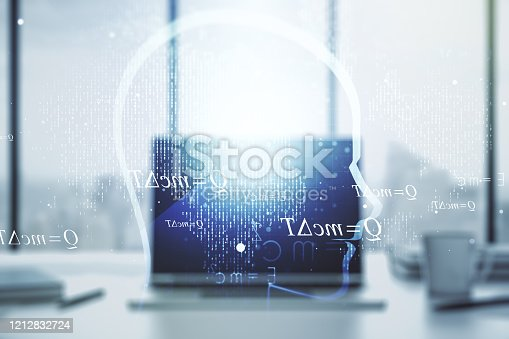istock Creative artificial Intelligence concept with human head hologram on modern laptop background. Multiexposure 1212832724