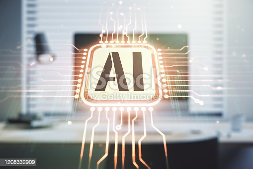 istock Creative artificial Intelligence symbol concept with modern laptop on background. Multiexposure 1208332909