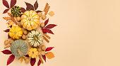 istock Creative autumn, thanksgiving, fall, halloween concept. Top view. 1280698488