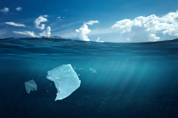 Creative background, plastic bag floating in the ocean, a bag in the water. The concept of environmental pollution, non-decomposable plastic, increased debris in the world's oceans. copy space Creative background, plastic bag floating in the ocean, a bag in the water. The concept of environmental pollution, non-decomposable plastic, increased debris in the world's oceans. plastic bag stock pictures, royalty-free photos & images