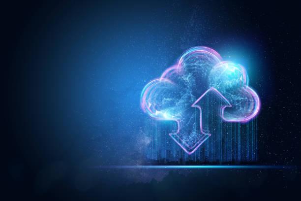 fondo creativo, la imagen del holograma del fondo de nube azul. el concepto de tecnología cloud, almacenamiento en la nube, una nueva generación de redes. técnica mixta. - nube fotografías e imágenes de stock