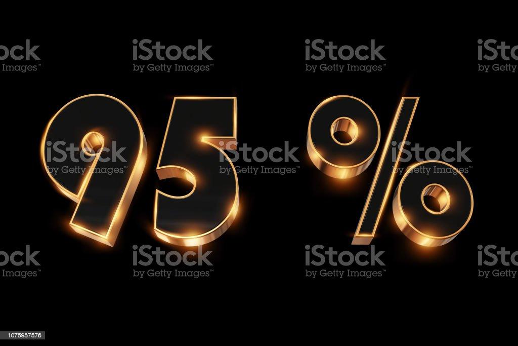 Creative background, winter sale, 95 percent, discount, 3d gold...